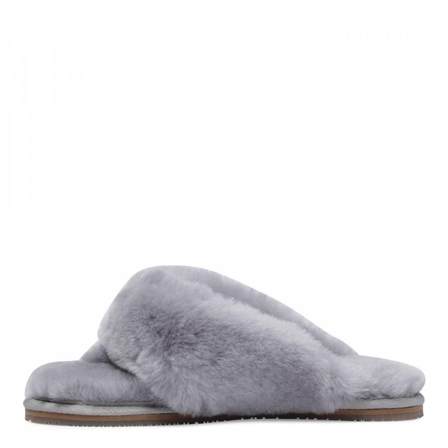 846ef98511d Women s Grey Sheepskin Flip Flop Slipper - BrandAlley