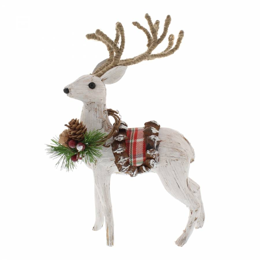 White & Tartan Standing Reindeer Decoration - BrandAlley