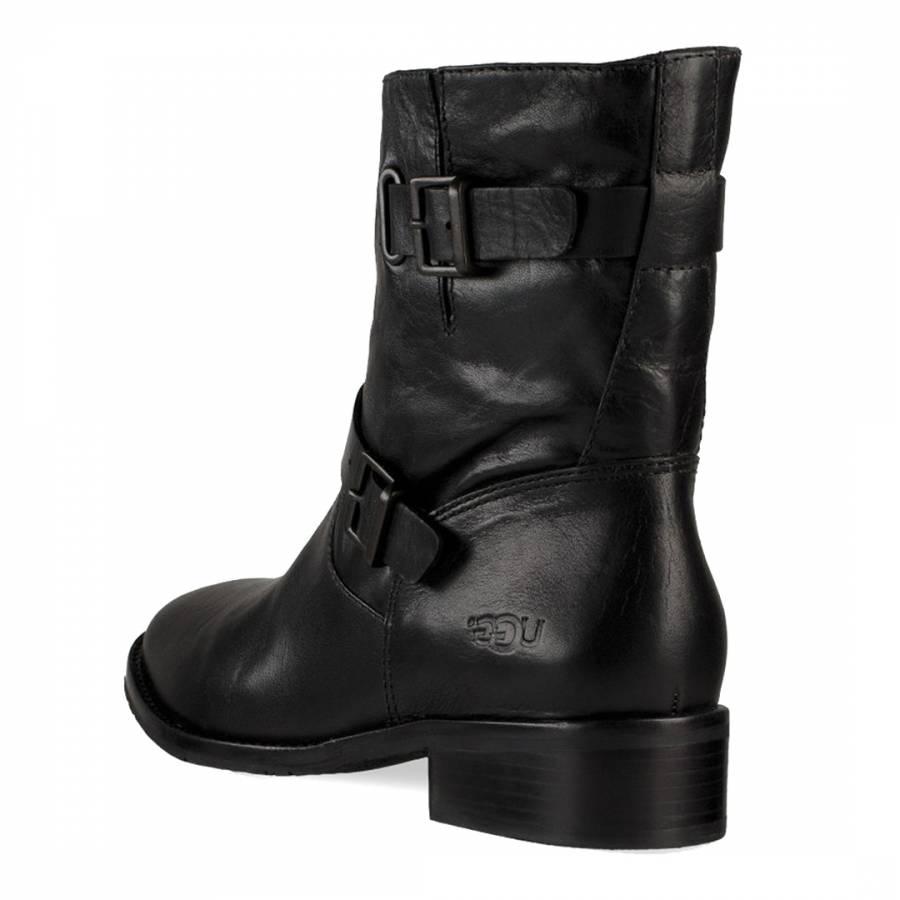 a3d4c3213de UGG Women's Black Leather Fletcher Ankle Boot