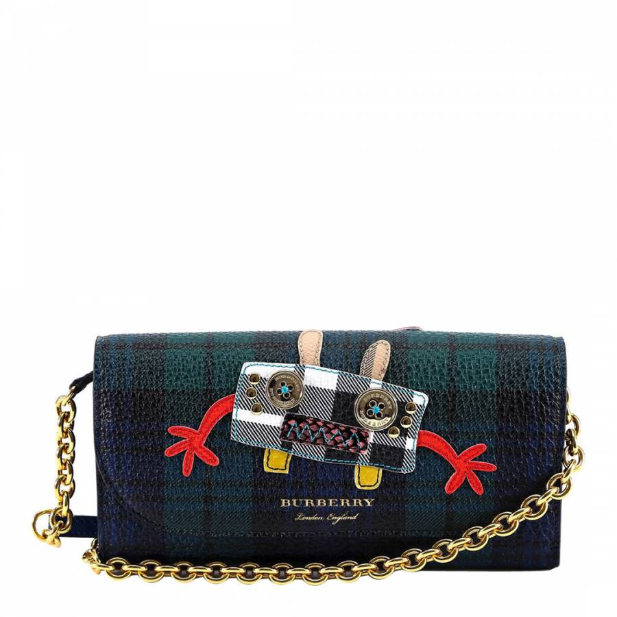 f1f1d9452ea Navy Green Checked Monster Patch Flap Wallet - BrandAlley