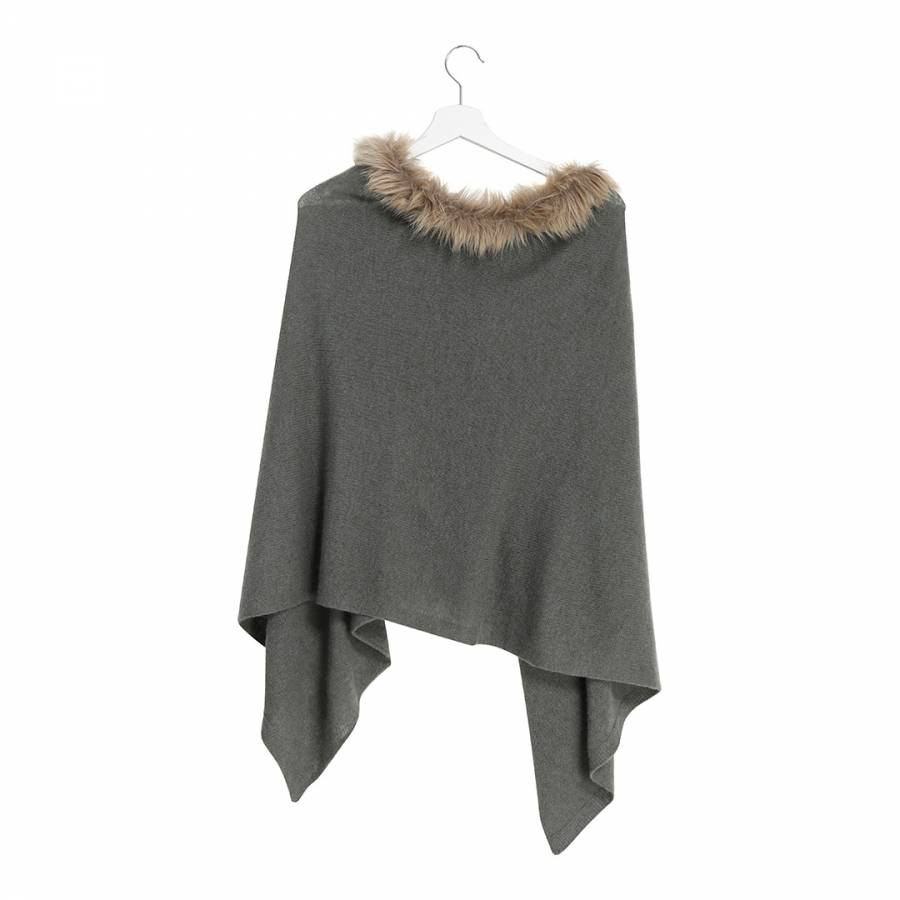 44bebe068 Taupe Faux Fur Collar Cashmere Poncho - BrandAlley