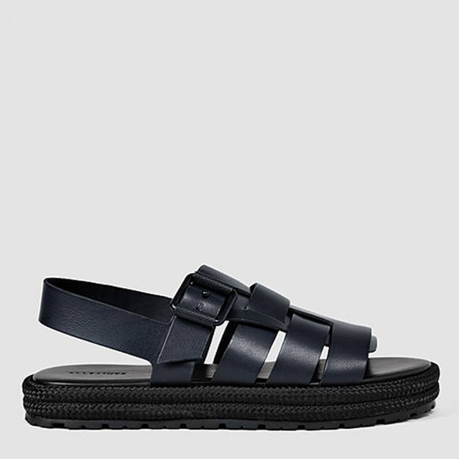03f548c1380d Navy Black Leather Botan Sandal - BrandAlley