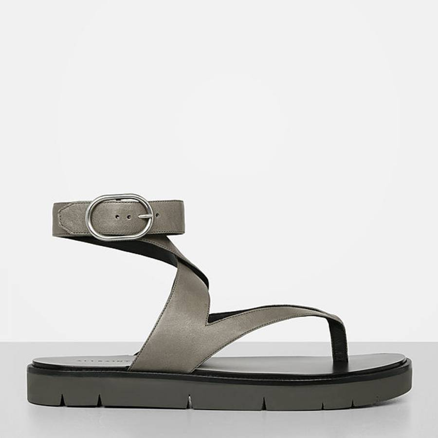 8edc0ddce7437 Smoke Grey Leather Montana Sandals - BrandAlley