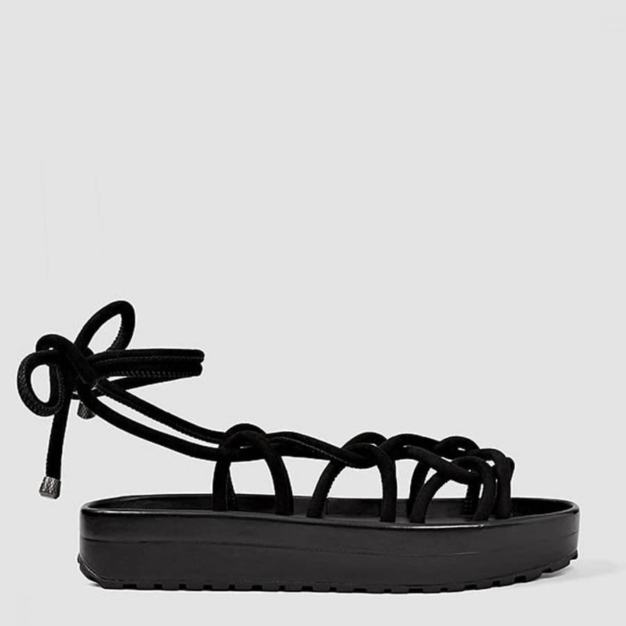 2a66db7381348 Black Suede Kofu Platform Sandals - BrandAlley