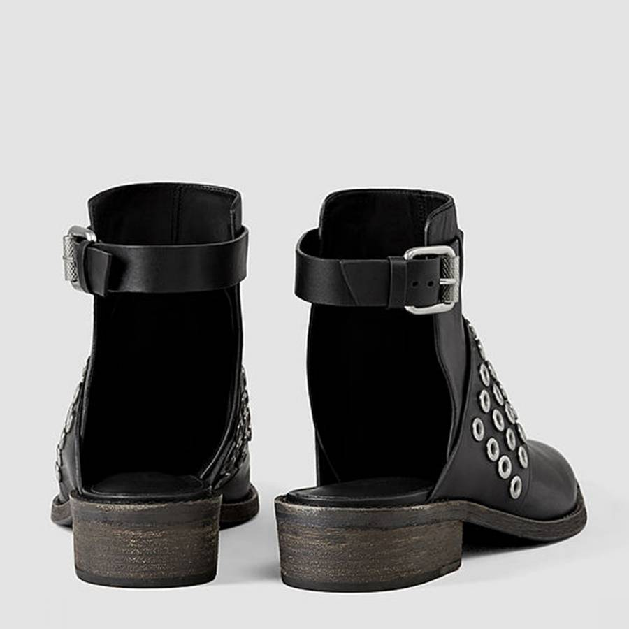 986a25bba617 Black Leather Yannis Open Back Ankle Boots - BrandAlley