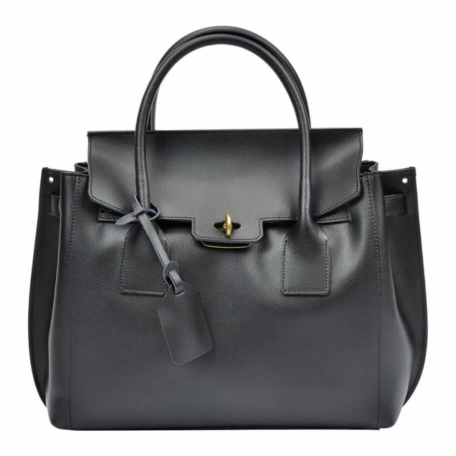 Luisa Vannini Black Leather Tote Bag 87f182aab8
