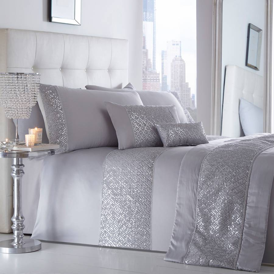 Shimmer King Duvet Cover Set Silver Brandalley