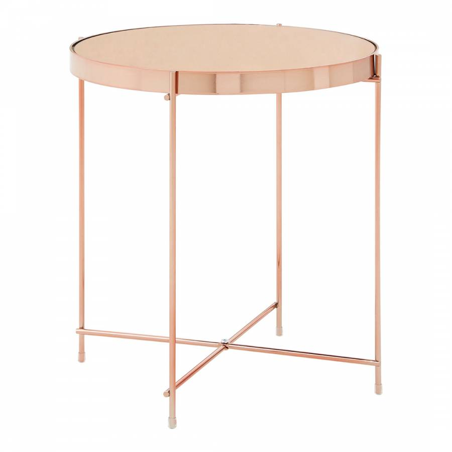 Rose Gold Mirrored Coffee Table: Allure Side Table, Rose Gold