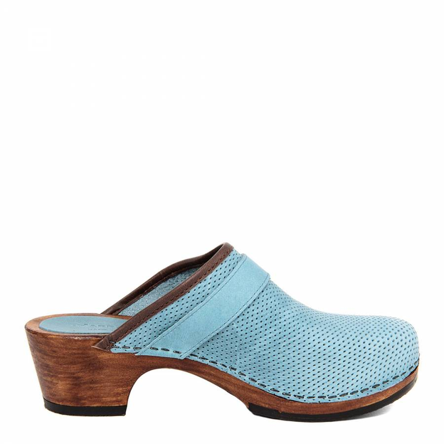 1aead439c29 Blue Perforated Leather Buckle Detail Clog - BrandAlley