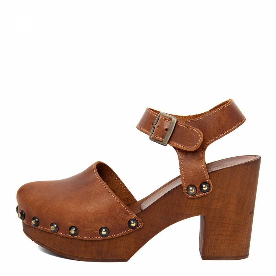 6fad7ffe4 Tan Brown Leather Chunky Buckle Up Clog - BrandAlley