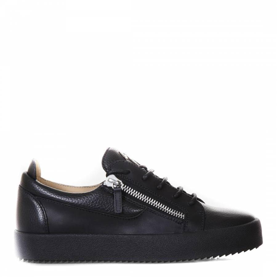 Leather Zip Lace Up Trainers - BrandAlley