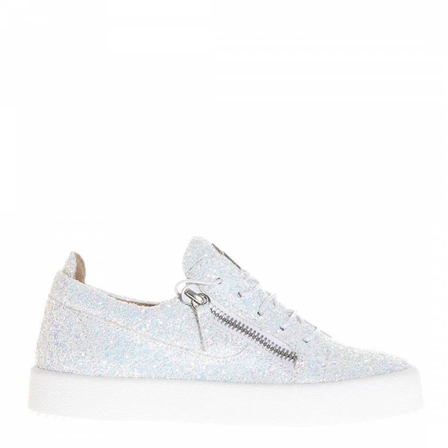 a7d9931980c05 Wome's White Glitter Leather Cheryl Trainers - BrandAlley