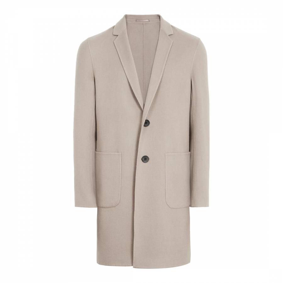 Reiss Men S Camel Smart Samuel Lightweight Winter Overcoat Uk Size S