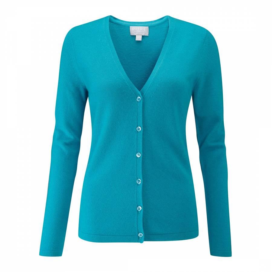 Dark Turquoise Cashmere V Neck Cardigan BrandAlley