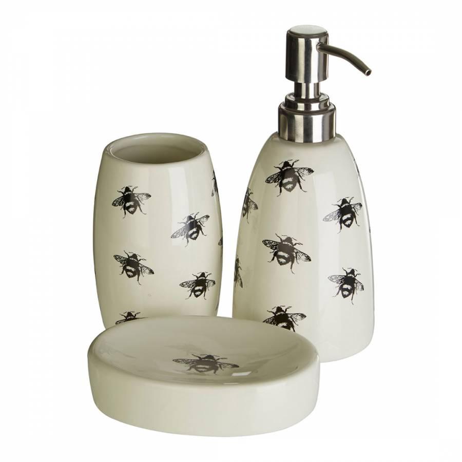 3 Piece Queen Bee Bathroom Set, Natural/Black - BrandAlley