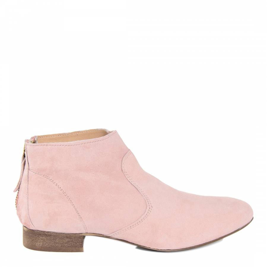 Pale Pink Suede Ankle Boot - BrandAlley