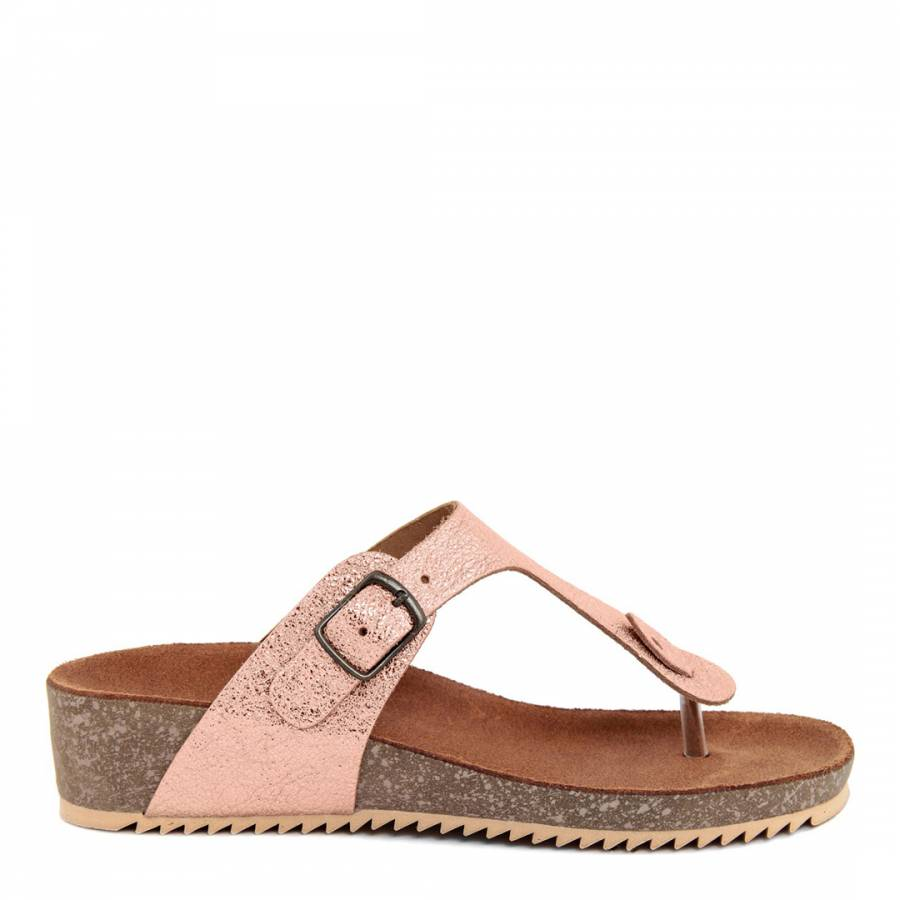 c649a41ce9e8 Miss Butterfly Metallic Rose Gold Leather Toe Thong Footbed Sandal
