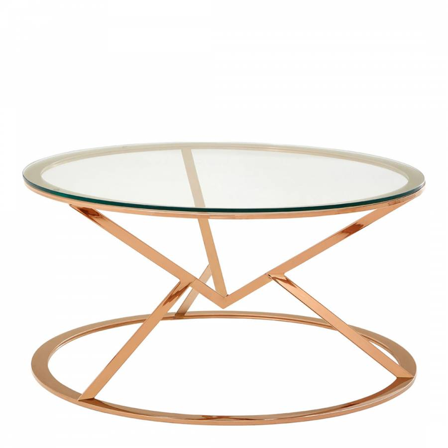Rose gold allure round coffee table brandalley for Rose gold round coffee table
