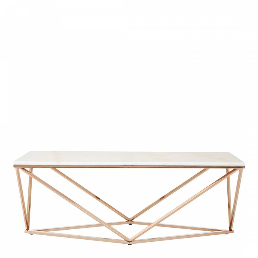 Nail Marble Top Coffee Table: Marble/Champagne Gold Allure Rectangular Coffee Table