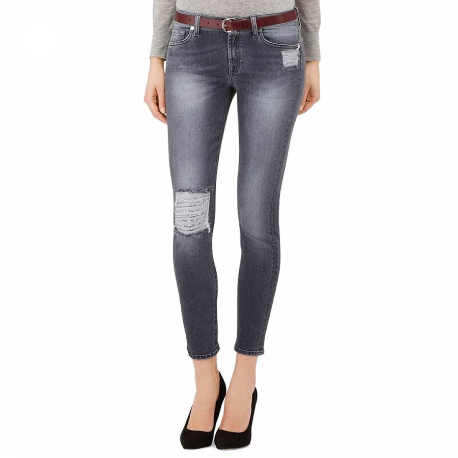 ce9acf251b6 7 For All Mankind Grey Sequins The Skinny Crop Stretch Jeans