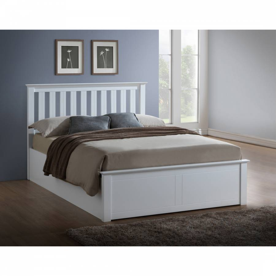 Enjoyable Single Phoenix Ottoman Bed Frame White Brandalley Gmtry Best Dining Table And Chair Ideas Images Gmtryco