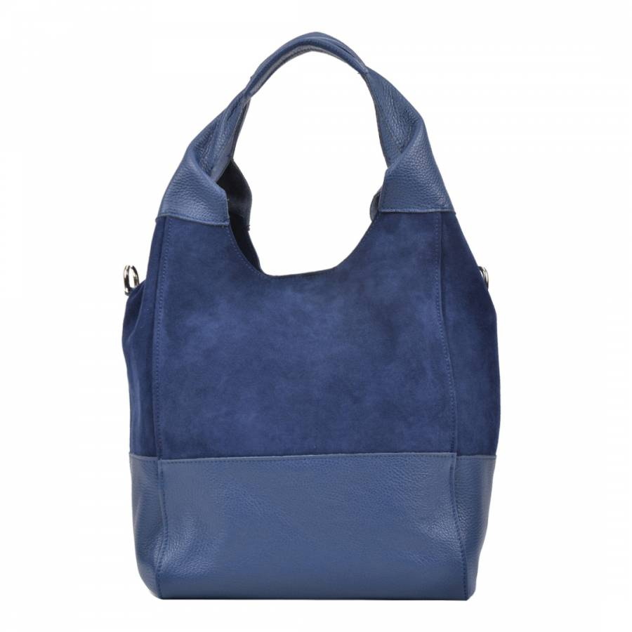 d2e29f618d Luisa Vannini Blue Leather Hobo Bag