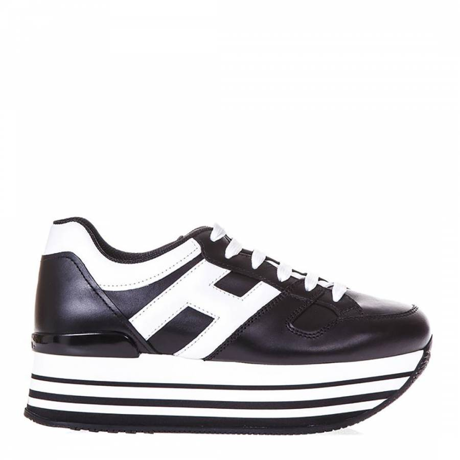 9865f744340 Women s Black White Leather Stripe Platform Trainers - BrandAlley