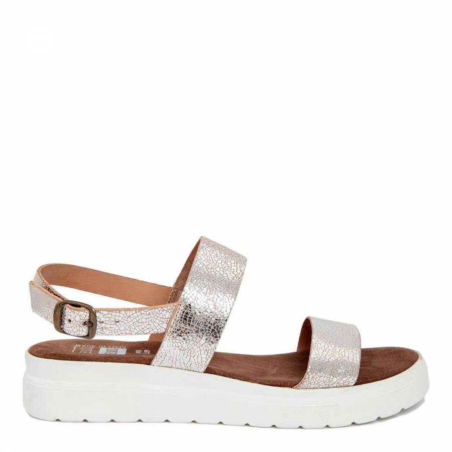 Double Brandalley Leather Silver Metallic Sandal Strap Cracked 8YtPxwq