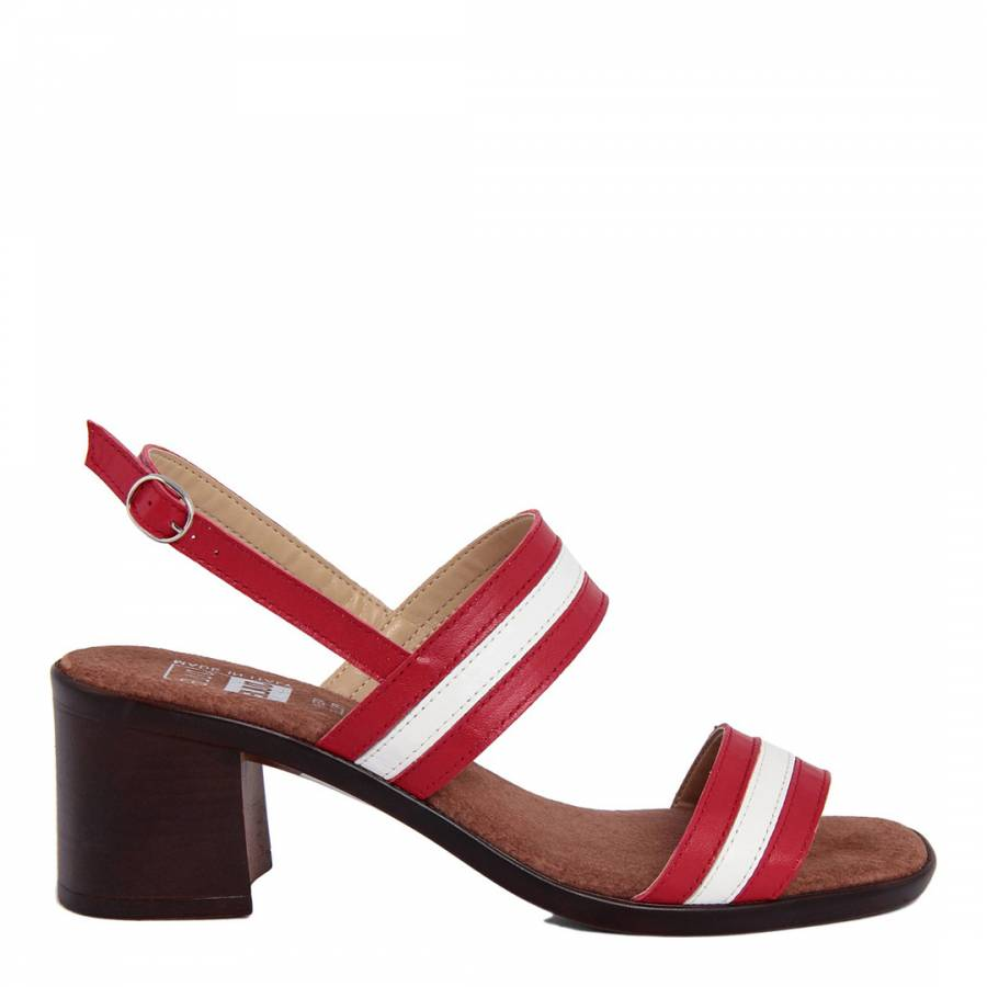 c13bf9f96a00 Red And White Stripe Leather Block Heel Sandal - BrandAlley