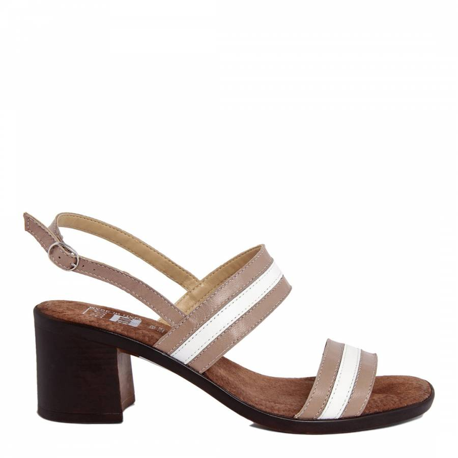 236522d684f9 Taupe And White Stripe Leather Block Heel Sandal - BrandAlley