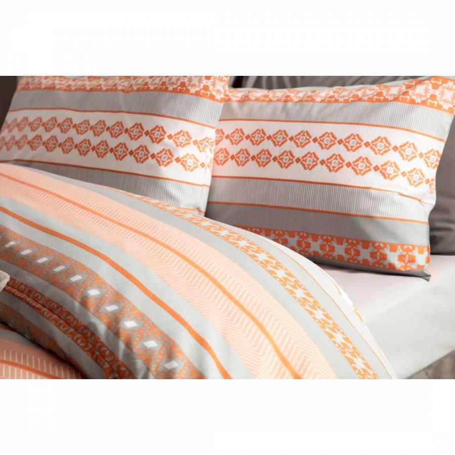 Geometric Rahil Design Duvet Cover Set in Terracotta Orange /& Grey Single Size