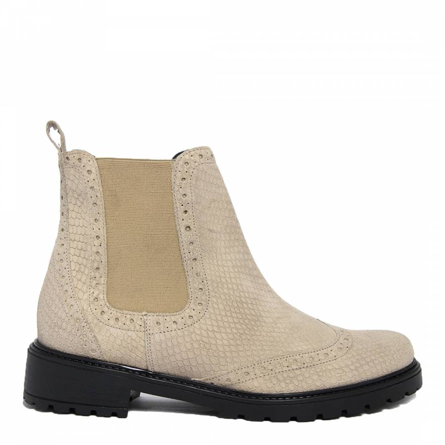 66bb701fc6fa Beige Suede Reptile Brogue Ankle Boots - BrandAlley