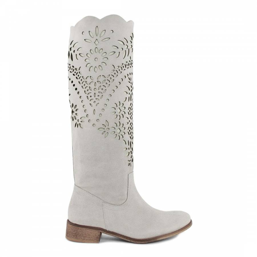 0354f95a9 Giorgio Picino Grey Perforated Paisley Suede Calf Boots