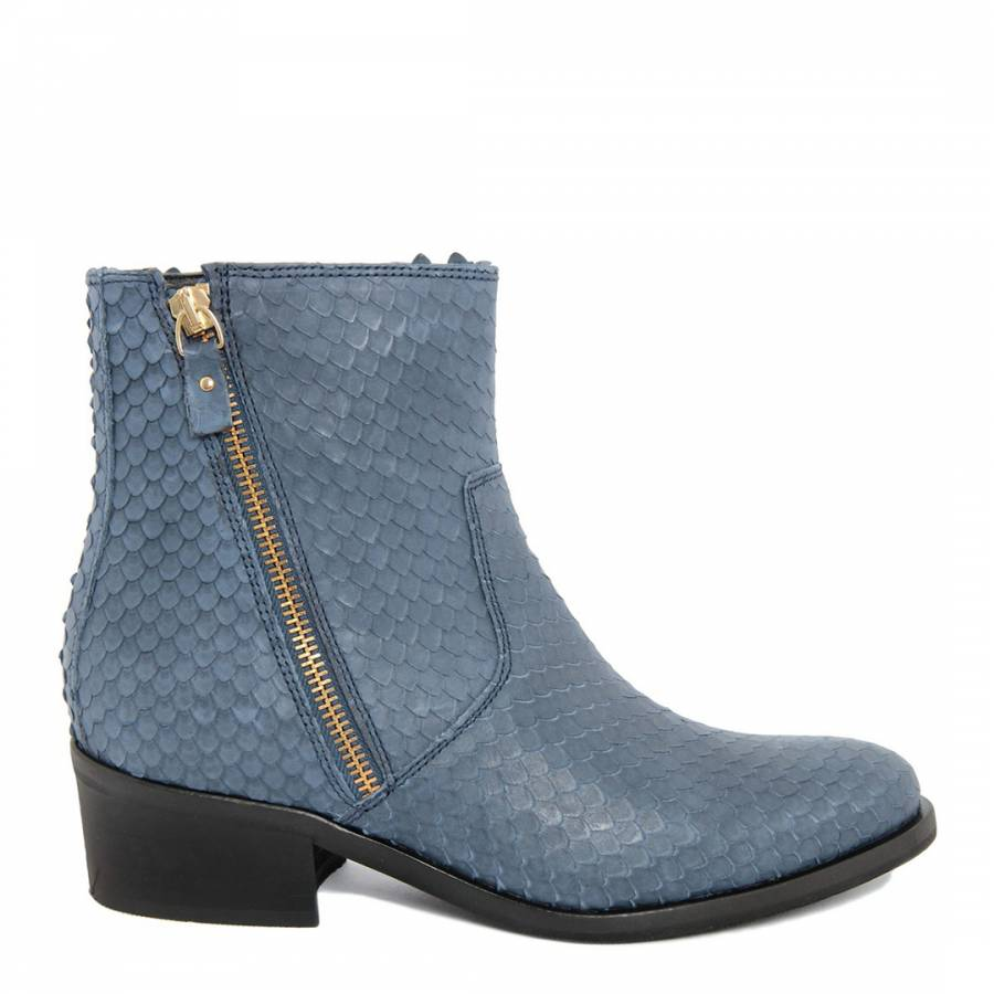 80ce0745afd7 Blue Leather Reptile Zip Ankle Boots - BrandAlley