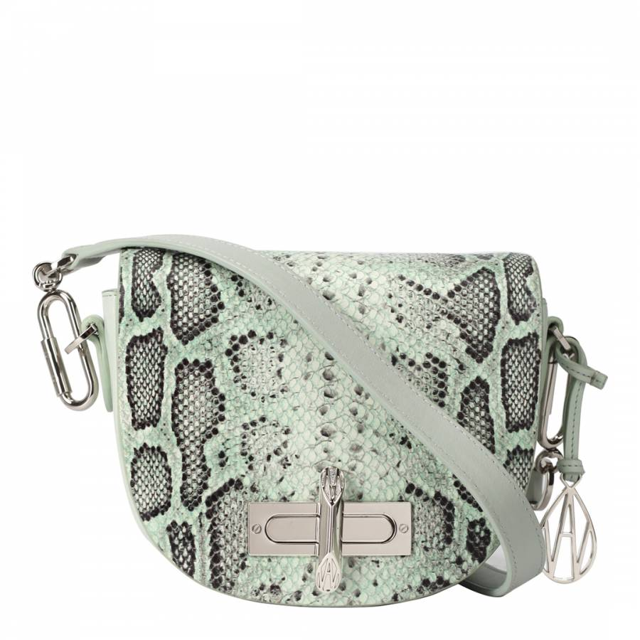 Mint/Python Print The Midi Niven Crossbody Bag - BrandAlley
