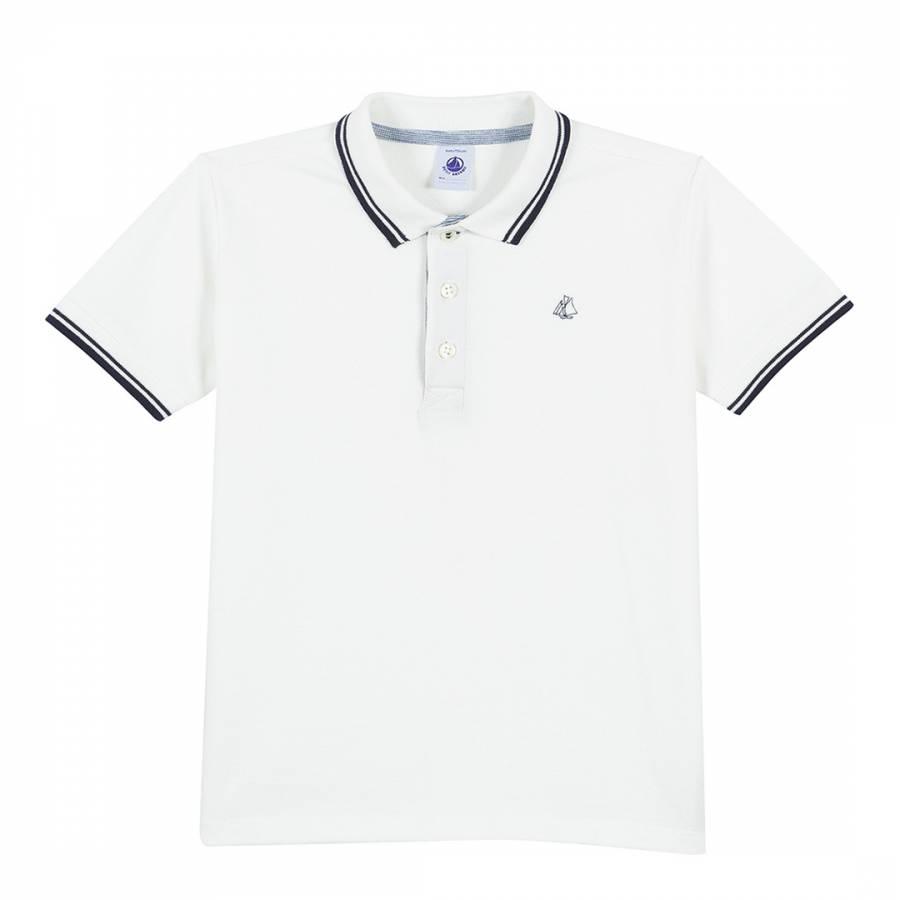 d5482f68f8a Petit Bateau White Polo Shirt In Pique Jersey