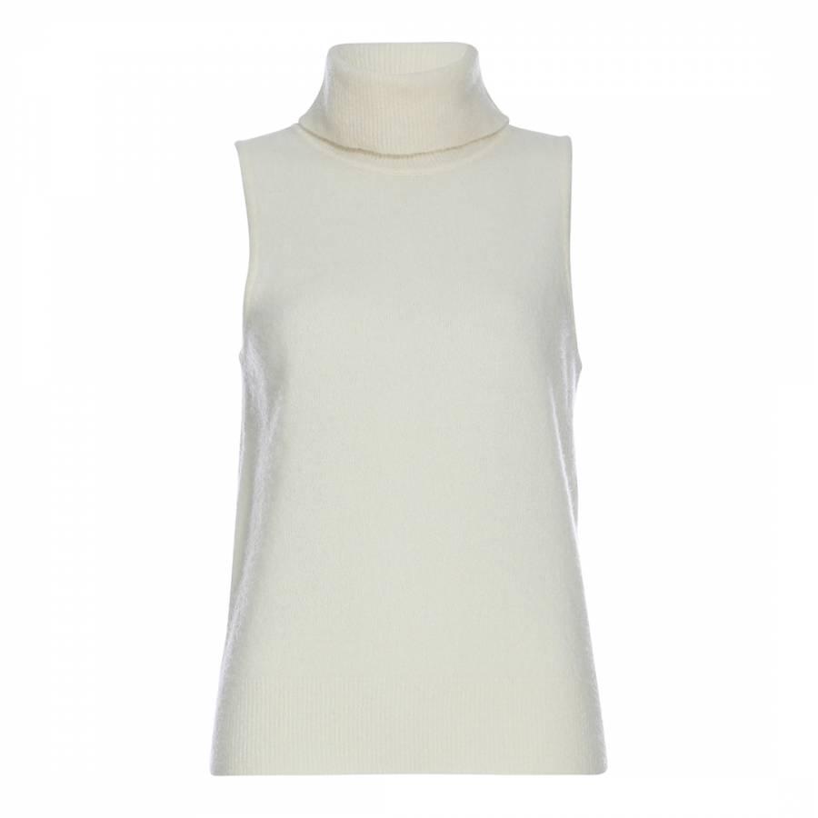 91ff95d04b Karen Millen Cream Sleeveless Roll Neck Knitted Top