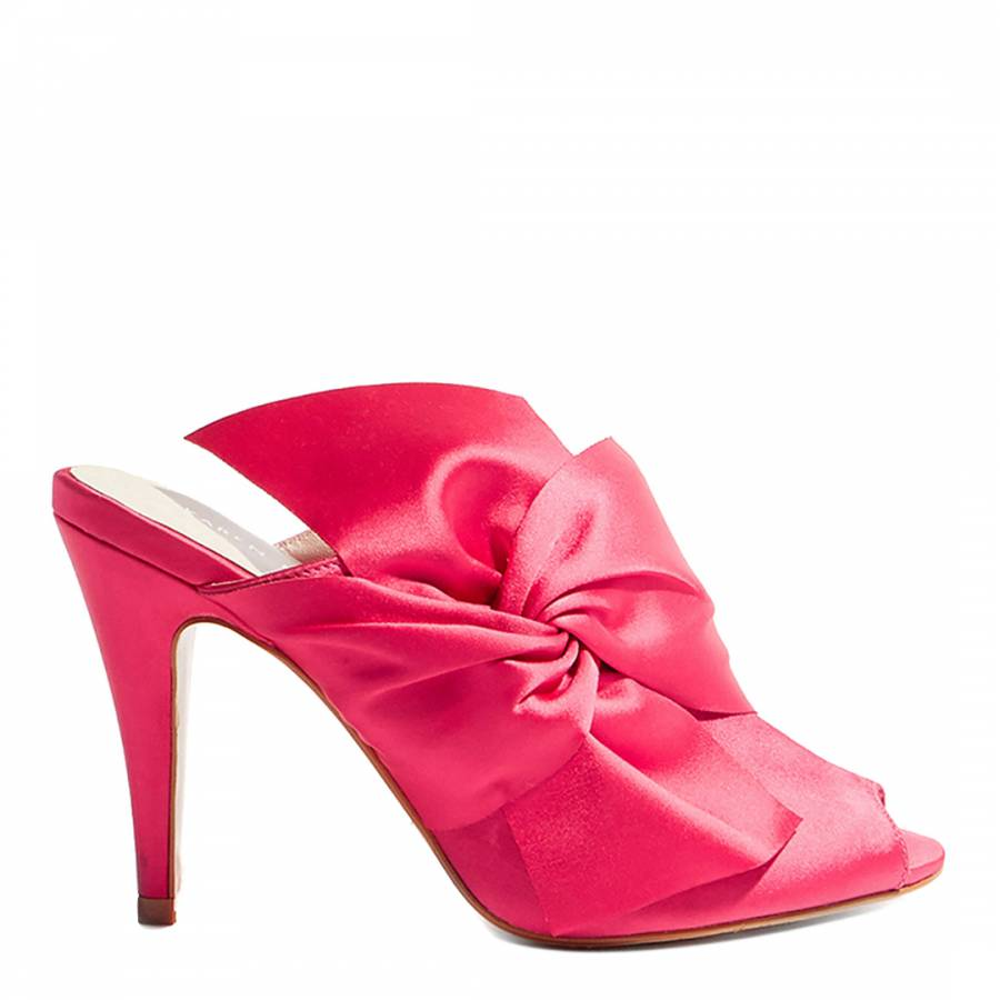 9877082e01a Pink Oversized Bow Peep Toe Mules - BrandAlley