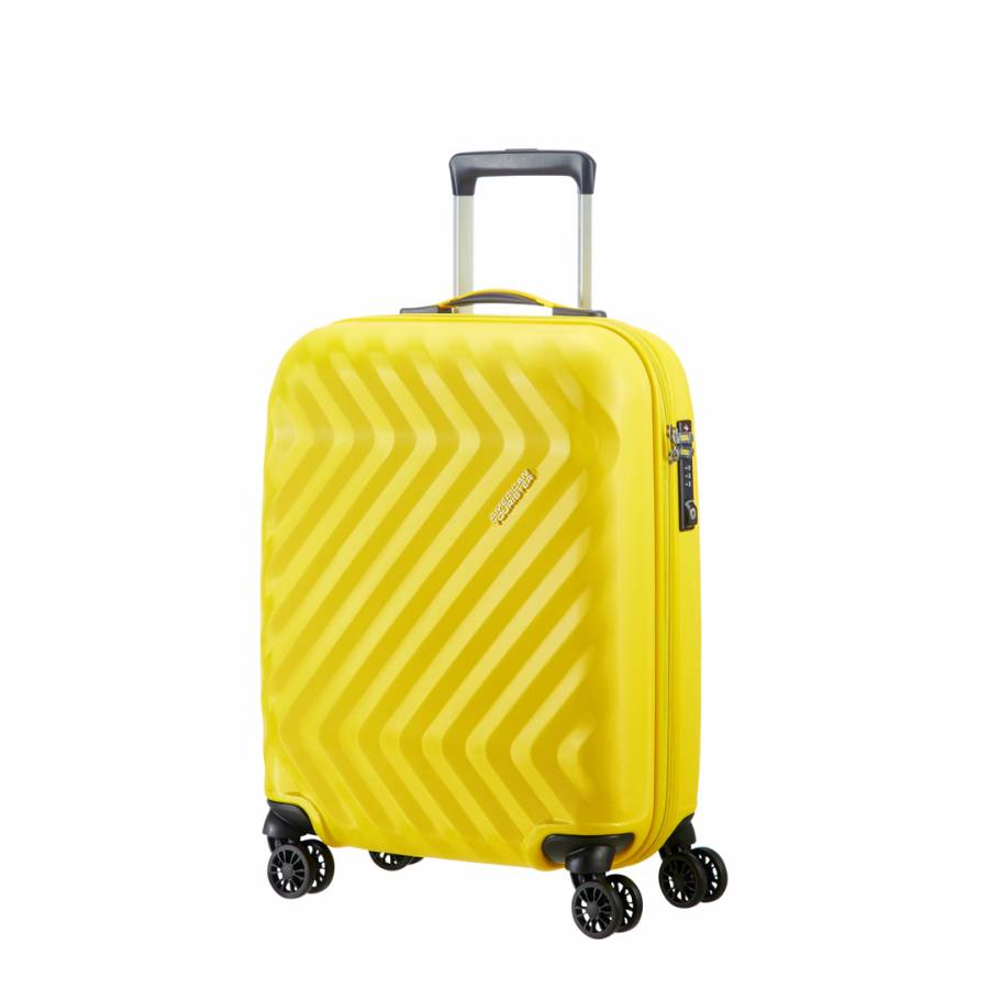 c7cf9d526861 American Tourister Yellow Ziggzagg Spinner 4 Wheeled Hardside Suitcase 55cm