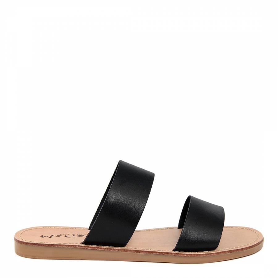 b520ee0c0 Black Leather Double Strap Slip On Sandal - BrandAlley