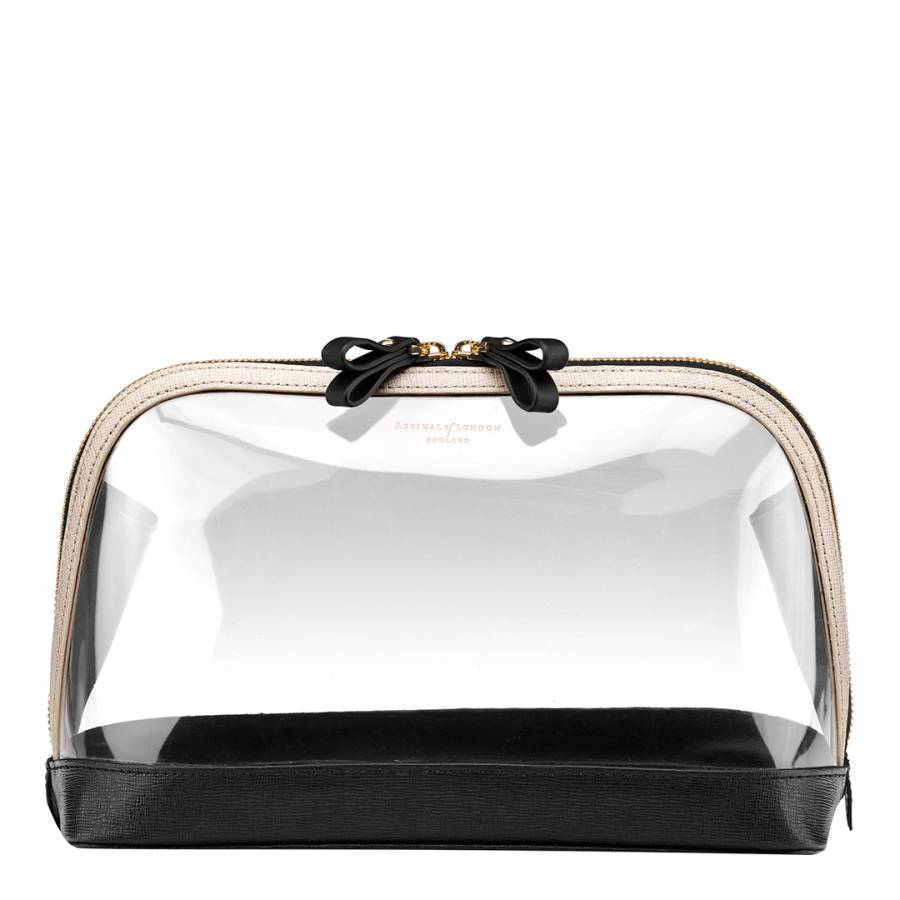 Aspinal of London Clear Black Large Leather PU Hepburn Cosmetic Case 920a12d603991