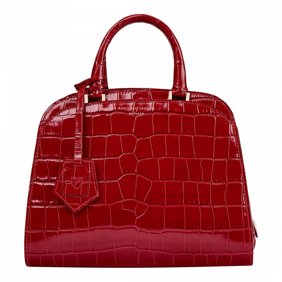Aspinal of London Red Croc Print Leather Mini Hepburn Bag 3c65a9d307147