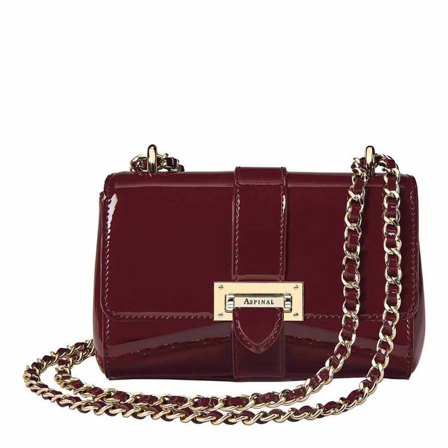 Aspinal of London Cherry Patent Leather Lottie Micro Bag c0ab232e6e3f0