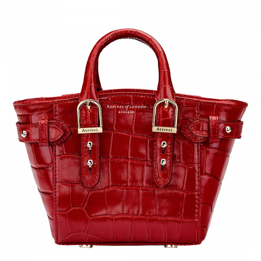 Aspinal of London Red Croc Print Leather Marylebone Micro Bag 851a5388fa2a5