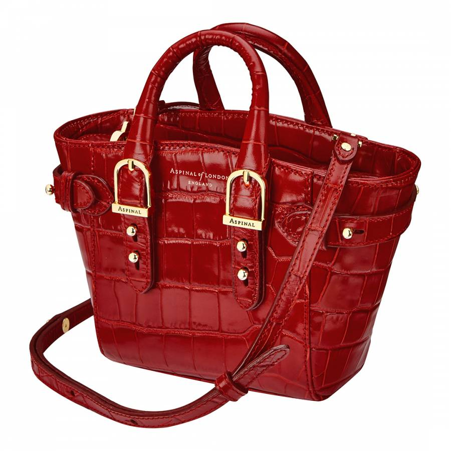 Red Croc Print Leather Marylebone Micro Bag - BrandAlley 6e2282c5cbfb7