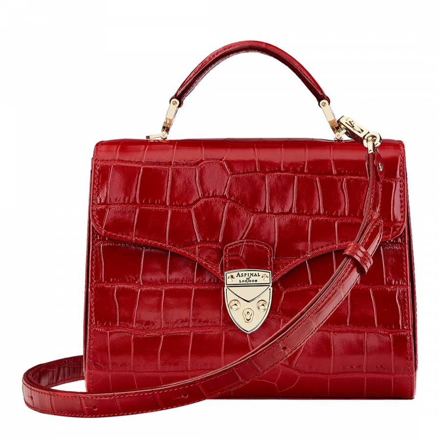 Red Croc Print Leather Mayfair Midi Bag - BrandAlley ca05f3045342b