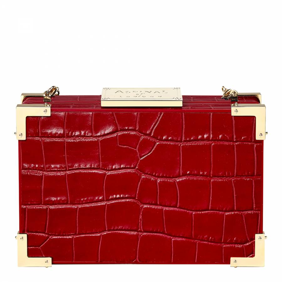 Aspinal of London Red Croc Print Leather New Box Clutch Bag 305f588d12c1d