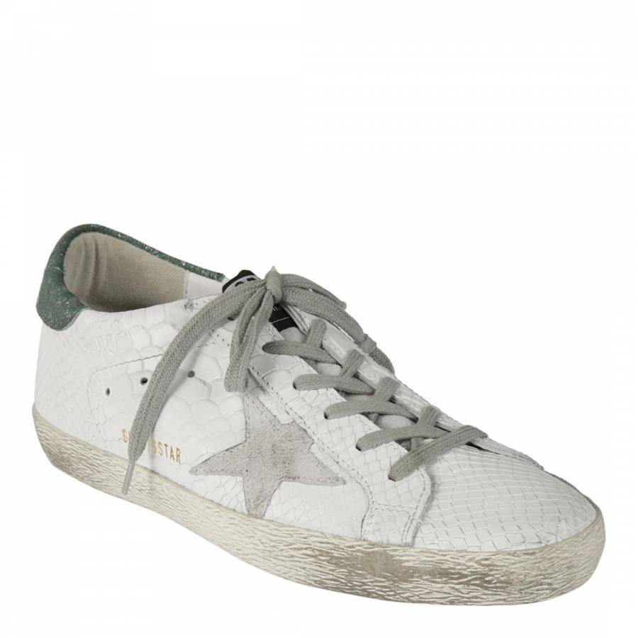 2d3909e7882 Women s White Leather Reptile Superstar Trainers - BrandAlley