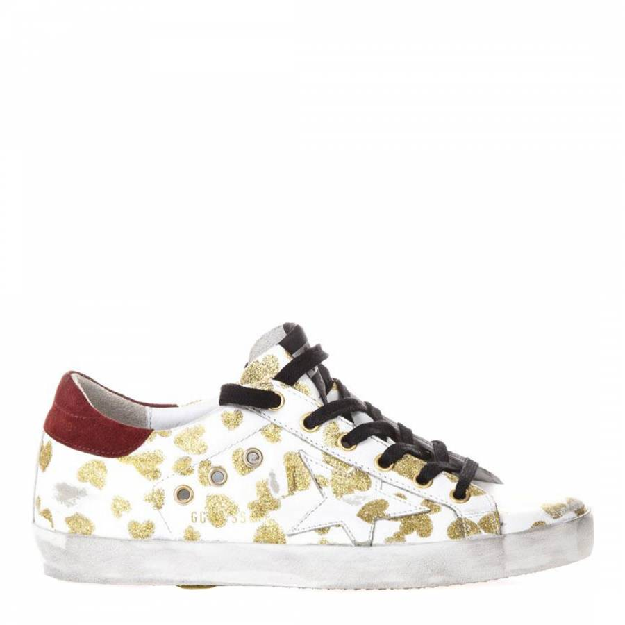 3686a2a6 Golden Goose Deluxe Brand Women's White/Gold Leather Glitter Heart Trainers