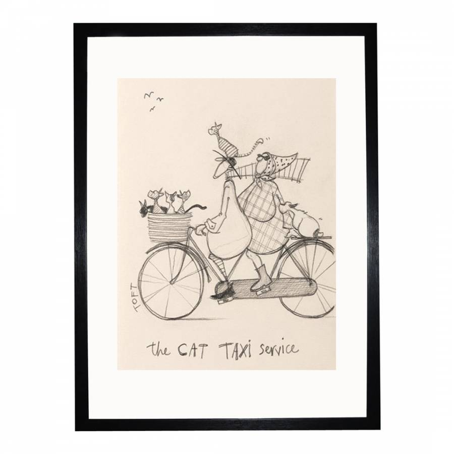The Cat Taxi Service Sketch Framed Print, 30x40cm - BrandAlley